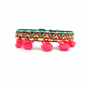 hondenhalsband met neon pompons