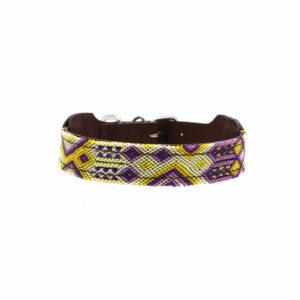 Hondenhalsband geel en paars