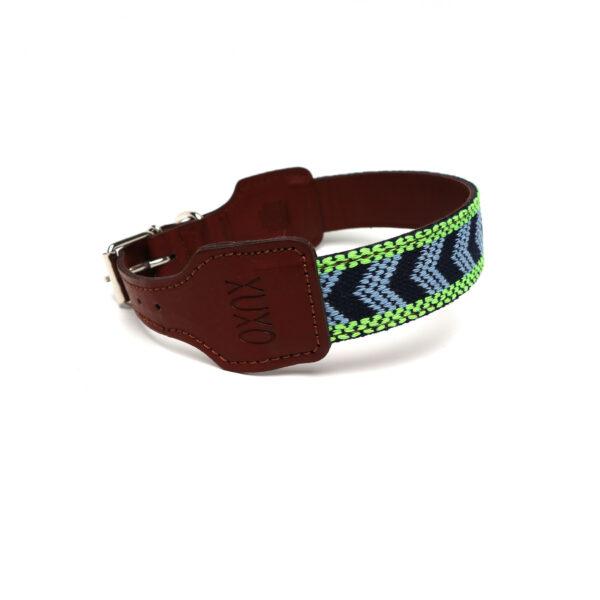 Halsband blauw en groen