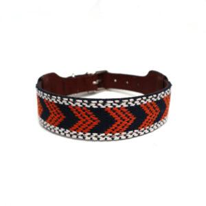 Hondenhalsband oranje met donkerblauw