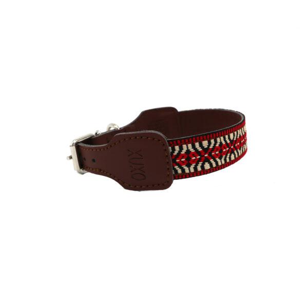 Hondenhalsband rood en beige
