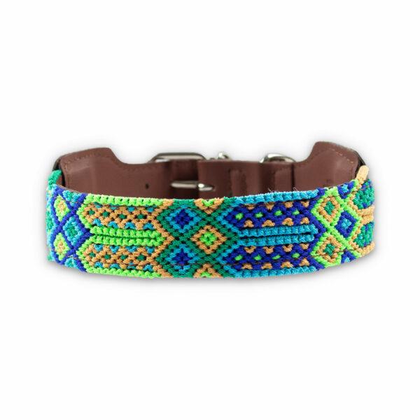 Hondenhalsband groen en blauw