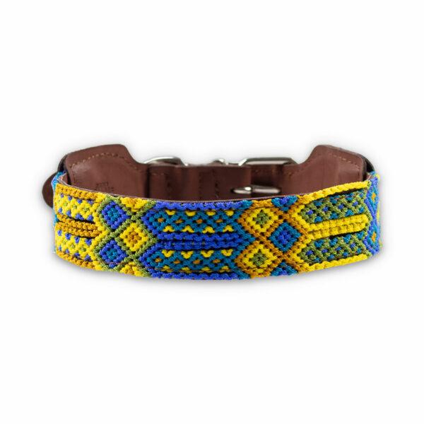 Hondenhalsband blauw en geel