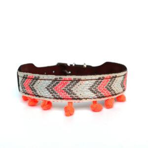 Hondenhalsband oranje pompon