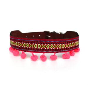 Hondenhalsband roze pompons