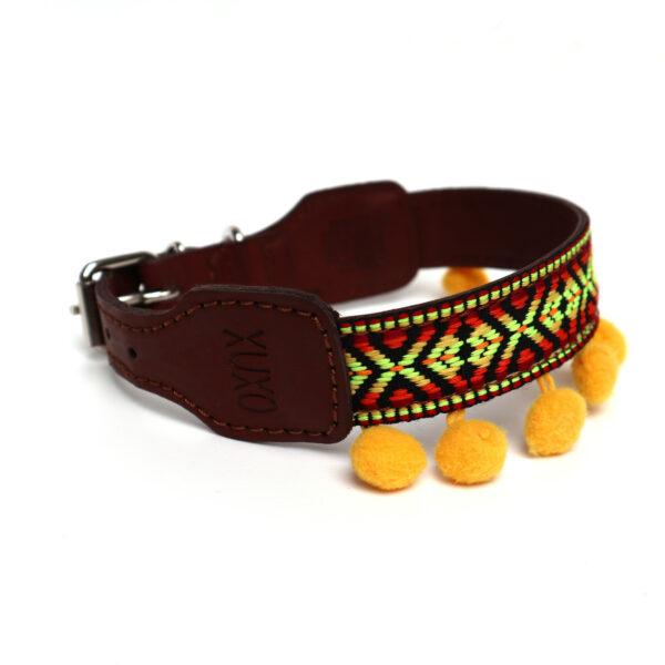 Hondenhalsband geel pompom