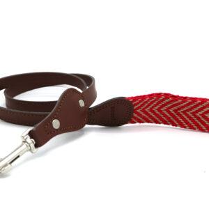 Hondenriem rood beige